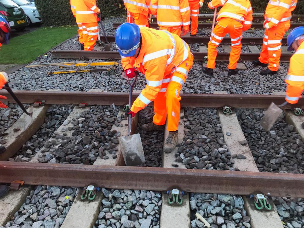 workers working in track